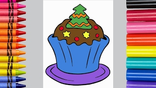 Learn Colors For Children With Christmas Cupcake Coloring Page