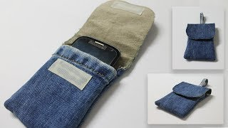 DIY Phone Pouch No Sew - Old Jeans into Pouch