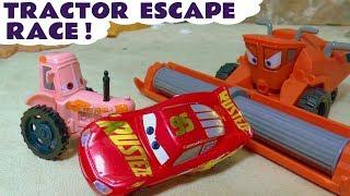 Cars 3 McQueen race against Hot Wheels Superhero car vehicles in Frank Tractor Escape TT4U