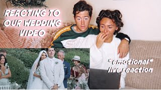 REACTING TO OUR WEDDING VIDEO (for the first time)!!! *emotional*