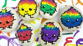 Adorable Rainbow Critters Painted Rocks