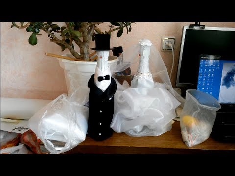 Как оформить свадебное шампанское