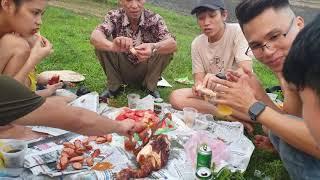 Ae trải nghiệm nướng gà tại hồ nam.Thái Nguyên