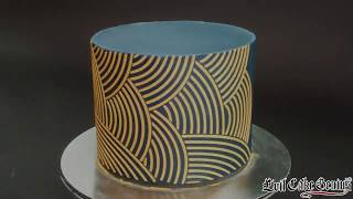Gold Royal Icing Mix and Arc Stripe Cake Stencil