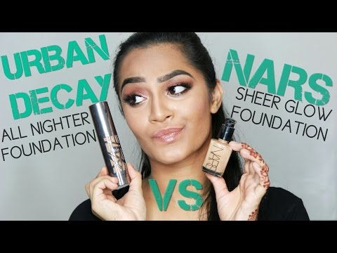 URBAN DECAY ALL NIGHTER VS NARS SHEER GLOW FOUNDATION REVIEW+DEMO