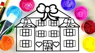 Painting Pretty Mansion House, Paint Coloring Pages for Children to Learn to Color with Painting