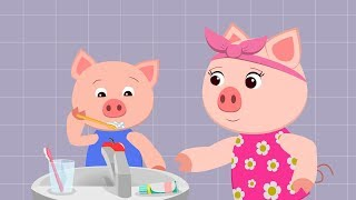 Piggy Pig Forgot to Brush Teeth - Cartoon about Pigs Family