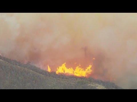 Wildfires rage around Santa Barbara, California