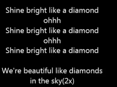Rihana Shine Bright Like A Diamond Lyrics video