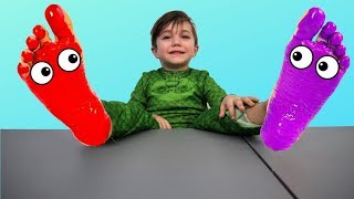 Baby Nursery Rhymes Learn Colors for kids with Feet Painting - Colors Song