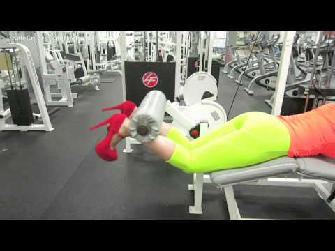 Hot Sexy Girl Workout at Gym in Red High Heels and Bright Spandex Lycra