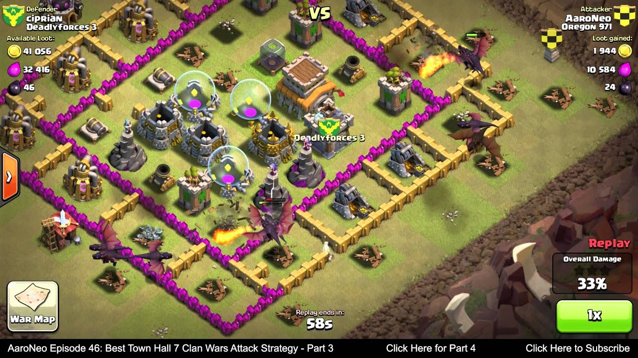 Best town hall level 7 th7 clan wars attack strategy part 3