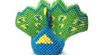 3d Origami Green Peacock Tutorial