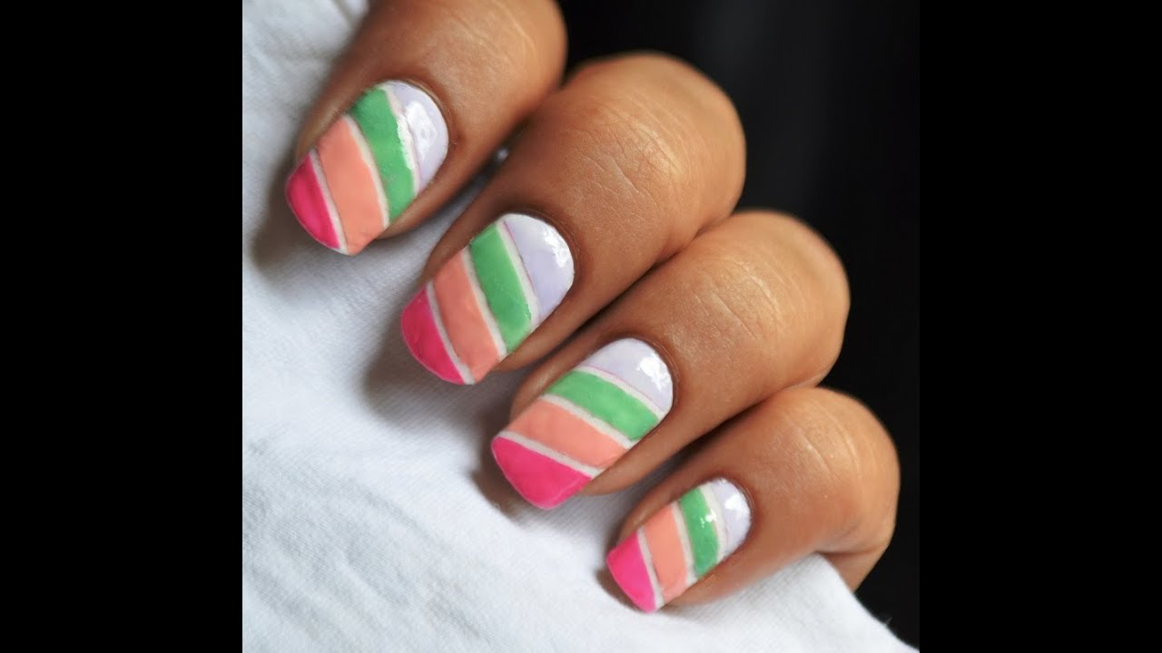 Easy Nail Art Using Tape: Colorful Nail Designs: Blocks Of Pastel Nail Polish