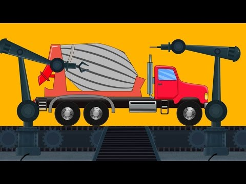 Cement Mixture Truck | Toy Factory | Robot | Car Garage