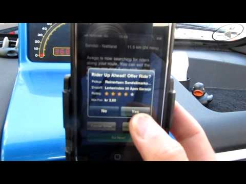 Ridesharing test in Bergen, Norway with Avego Driver iPhone app and a simulated passenger