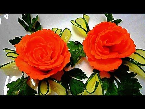 Цветы из моркови! Flowers of carrot! Украшения из овощей! Decoration of vegetables