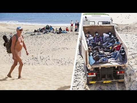African Immigrants Bring Ebola Scare To Nudist Beach In Spain video