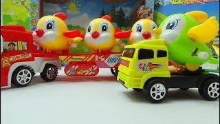 Baby Time - Mother trucks, police cars take bird toys | animal toys