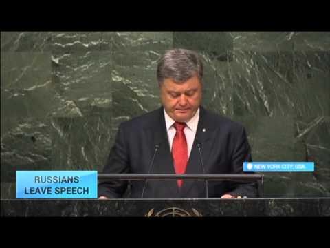 Russian Delegation Walks Out of Poroshenko UN Speech: Ukrainian leader to meet Obama, Ban Ki-Moon