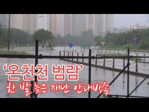온천천 폭우로 범람, 한 발 늦은 재난 안내방송
