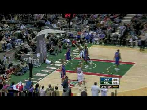 Detroit Pistons vs Milwaukee Bucks (Allen Iverson 27 points 9 assists in OT win) 02/07/09 [HQ]