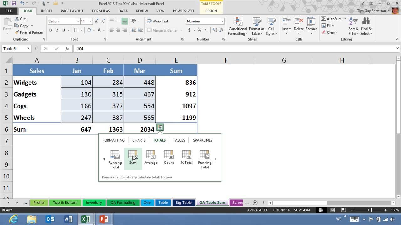 Series Excel 2013 Excel 2013 Quick Analysis