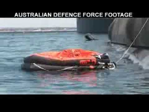 HMAS Collins - Abandon ship drills during EX Pacific Reach
