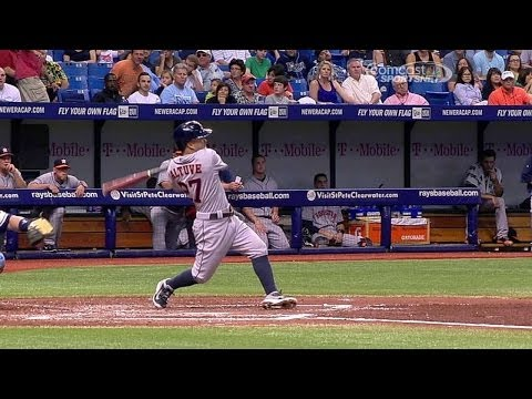 HOU@TB: Altuve singles for his 100th hit of the year