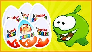 Om Nom New Episodes. Kinder Adventures. Om Nom videos. Unboxing 10 Kinder Joy Surprise Eggs.