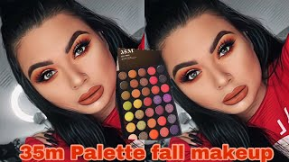 Orange and green fall makeup look | 35m Morphe palette