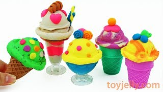 Play Doh How to Make Ice Cream Sundae Popsicles Learn Colors Kinder Surprise Eggs Baby Finger Song