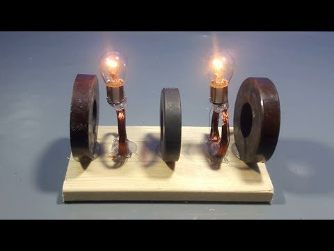 how to make free energy magnets at home for light bulb | science projects thumbnail