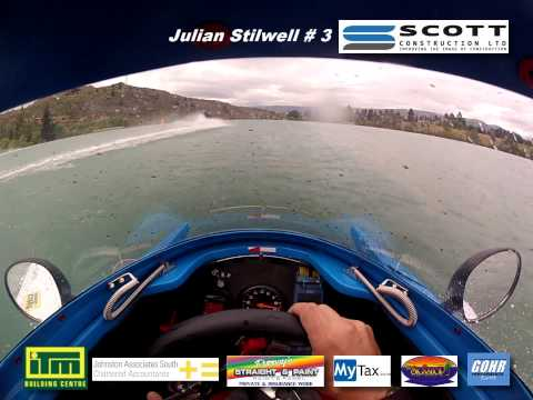 NZ F1 Powerboat Tour 2012 - Round 1 Race 1 - Cromwell - On-board # 3 Scott Construction