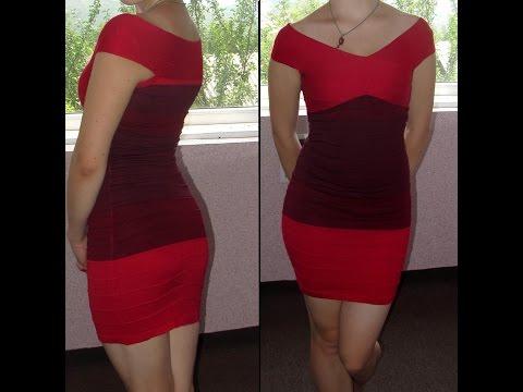 Обзор красного приталенного  платья с Aliexpress