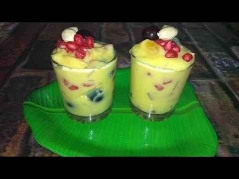 பழங்களை வைத்து இந்த மாதிரி செய்து பாருங்க//fruit custard recipe in Tamil/ healthy snacks recipes E02