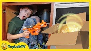 Giant Surprise Dinosaur Mystery Box! Fun Kids Nerf Toys Battle & ToyLabTV Game with Dinosaurs