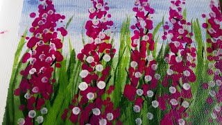 Cotton swabs lavender flower painting technique for beginners | Easy acrylic painting