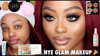 EASY NEW YEARS EVE MAKEUP TUTORIAL Ft. WEST KISS HAIR | WOC | JACLYN HILL, NARS,  CHARLOTTE TILBURY