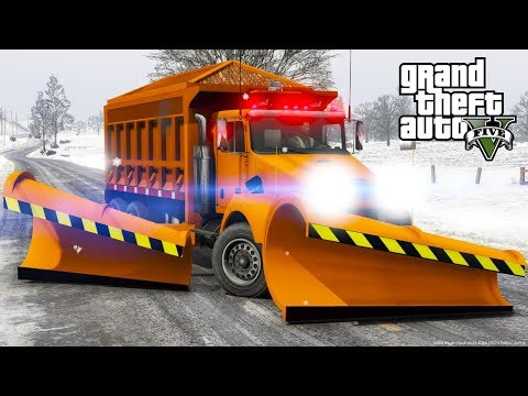 GTA 5 Mod - Department Of Transportation Snow Plow & Salter Spreader Plowing Snow In North Yankton