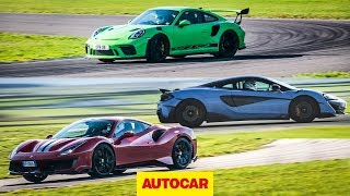 Ferrari 488 Pista vs McLaren 600LT vs Porsche 911 GT3 RS | 0-100mph-0 and lap times | Autocar