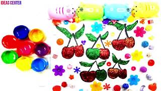 Glitter and Beads Cherry Coloring And Drawing for Kids, Toddlers #4 | Learning Colors and Drawing