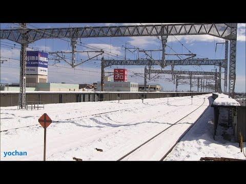 Railroad under heavy snow.Shinkansen - Kumagaya Station (near Tokyo)  雪に覆われた新幹線の線路・熊谷駅