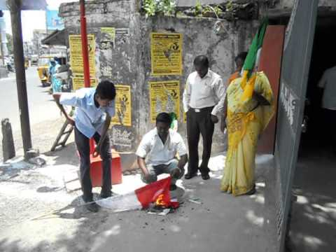 singapore national flag Desecration in ap capital from navataram party