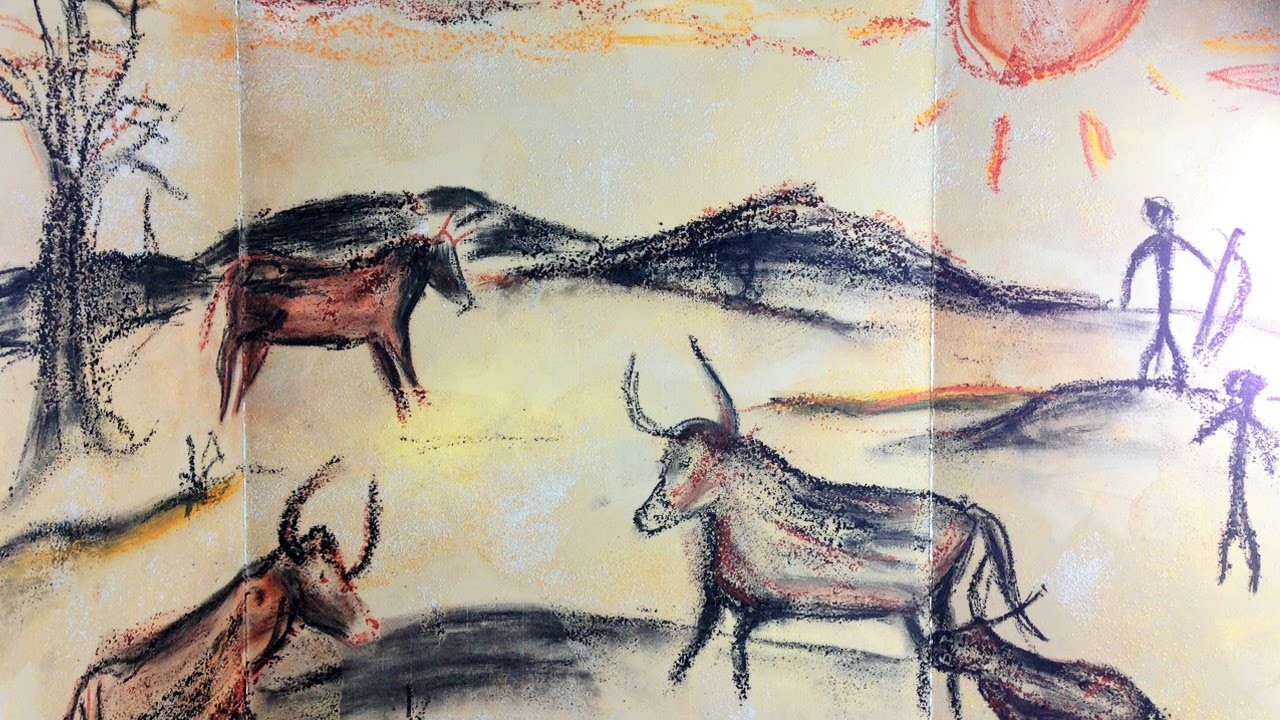 Caveman Art Project : Prehistoric cave painting mixed media art project for