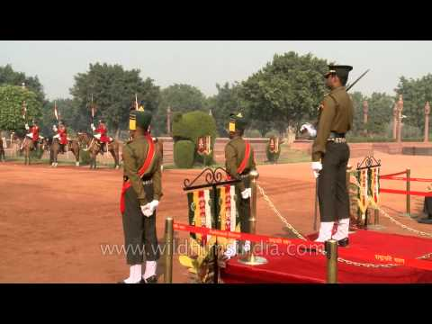 Indian army band music at the Changing of the Guard at Rashtrapati Bhavan