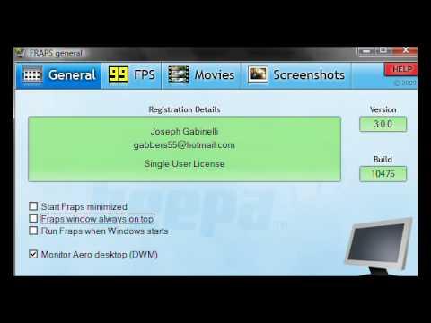 Fraps 3.0.0 Erklärungen im Video.
