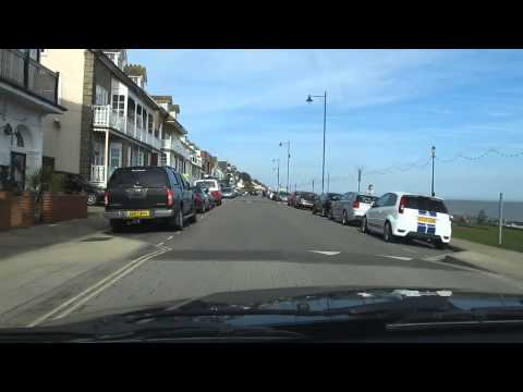 Driving Along Felixstowe Front And Beach In Suffolk