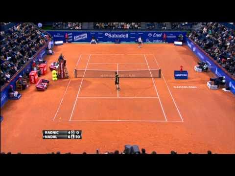 Nadal Drills Barcelona Hot Shot Forehand vs. Raonic