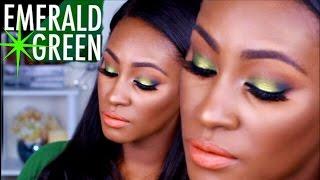 Get Ready with Me | MAC, MUG,OFRA | Emerald Green Eyes with my new Favorite Skincare Tool | Shlinda1